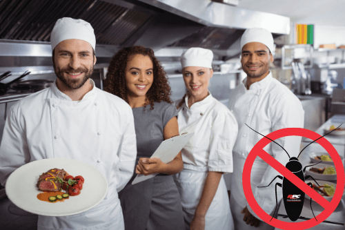 Why your business needs commercial pest control with RPC pest solutions Hammond La.; Restaurant team pictured in the kitchen with chef holding plate of food with a table of food next to them, along with a cockroach with a red no circle over it with the RPC logo